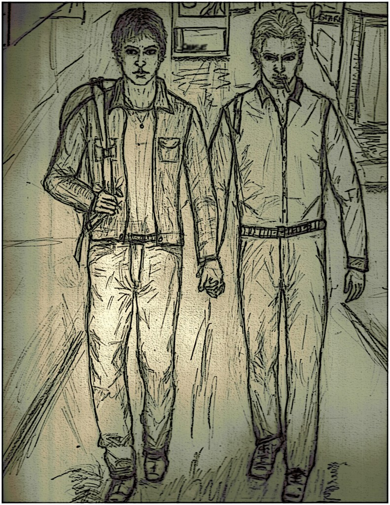 Drawing of two men from the books Gabriel