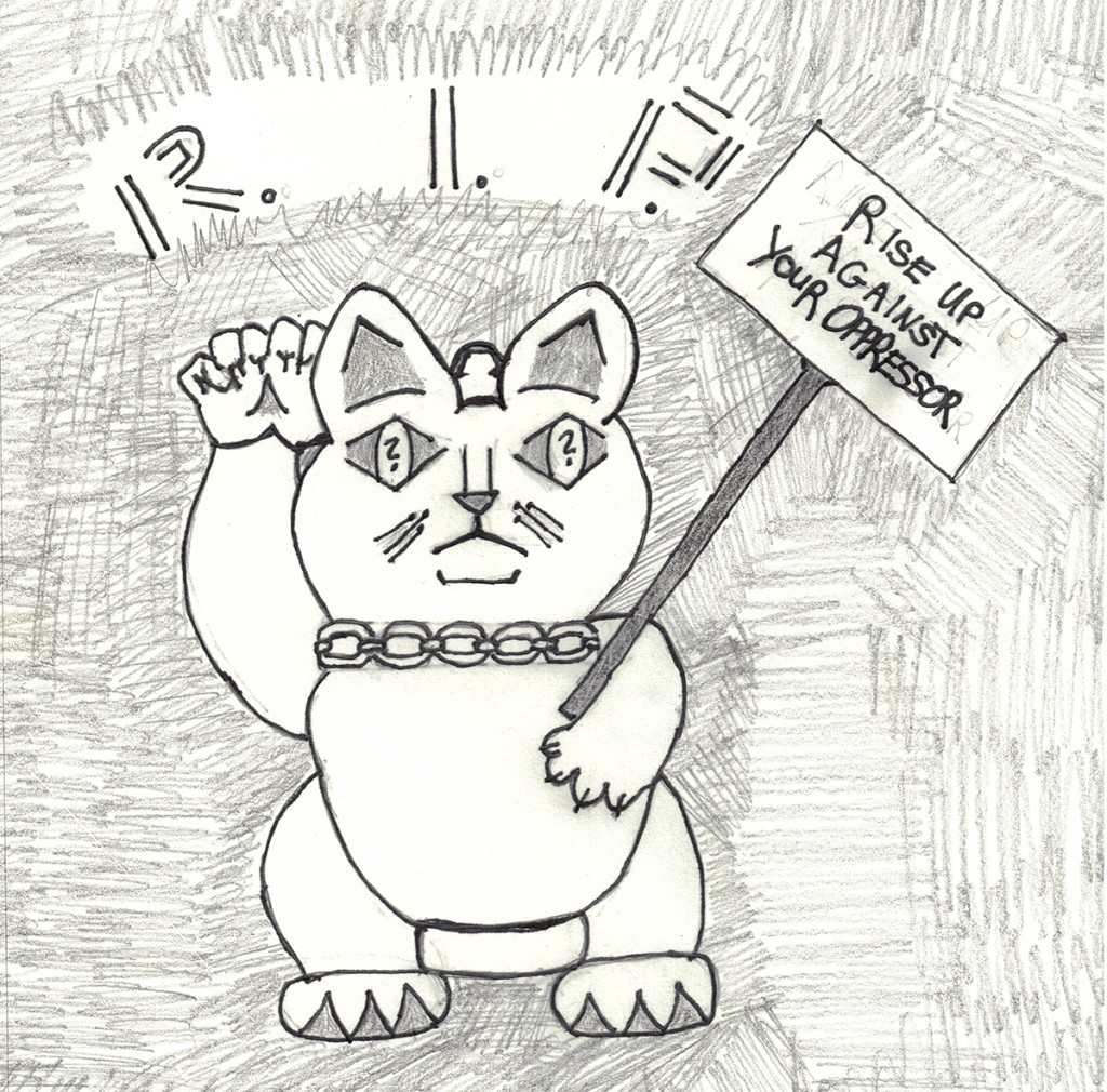 "Logo for protest movement in the story ""Dead for Now"" featuring the Maneko-Neki cat holding a sign reading Rise Up Against Your Oppressor."
