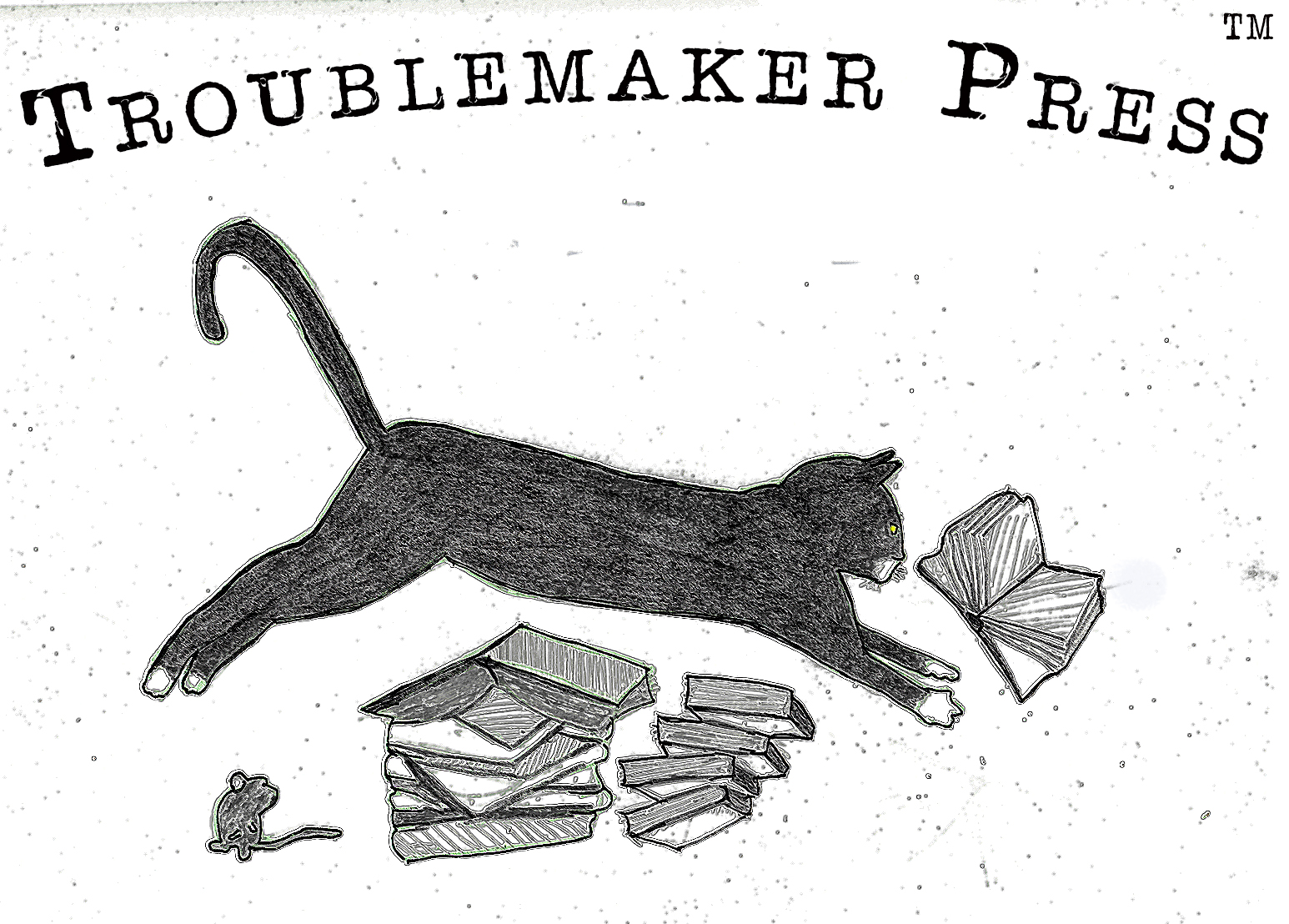 Logo for Troublemaker Press, featuring a black cat jumping over and scattering a pile of books, while a mouse watches.
