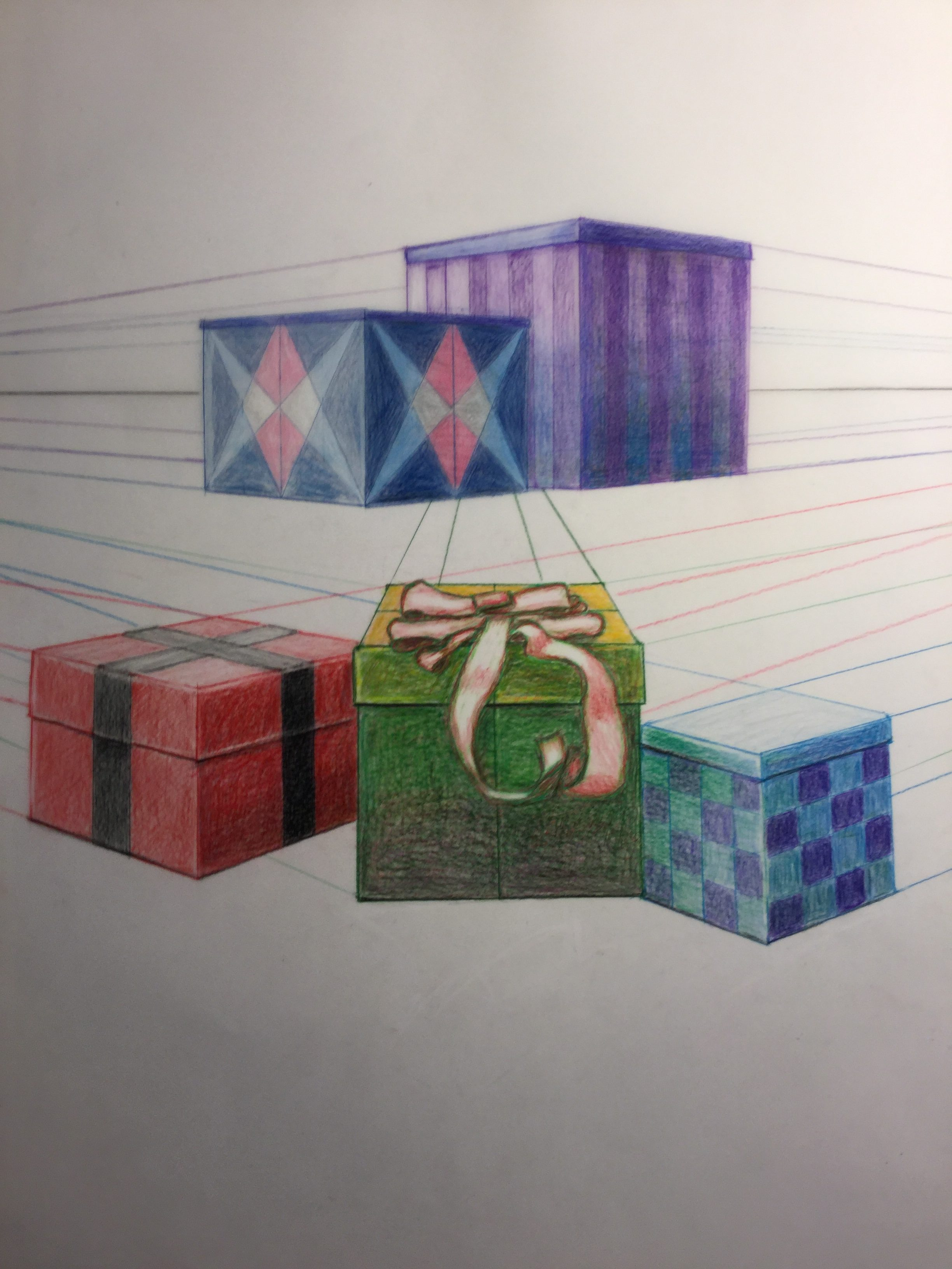 Prismacolor drawing of gift boxes