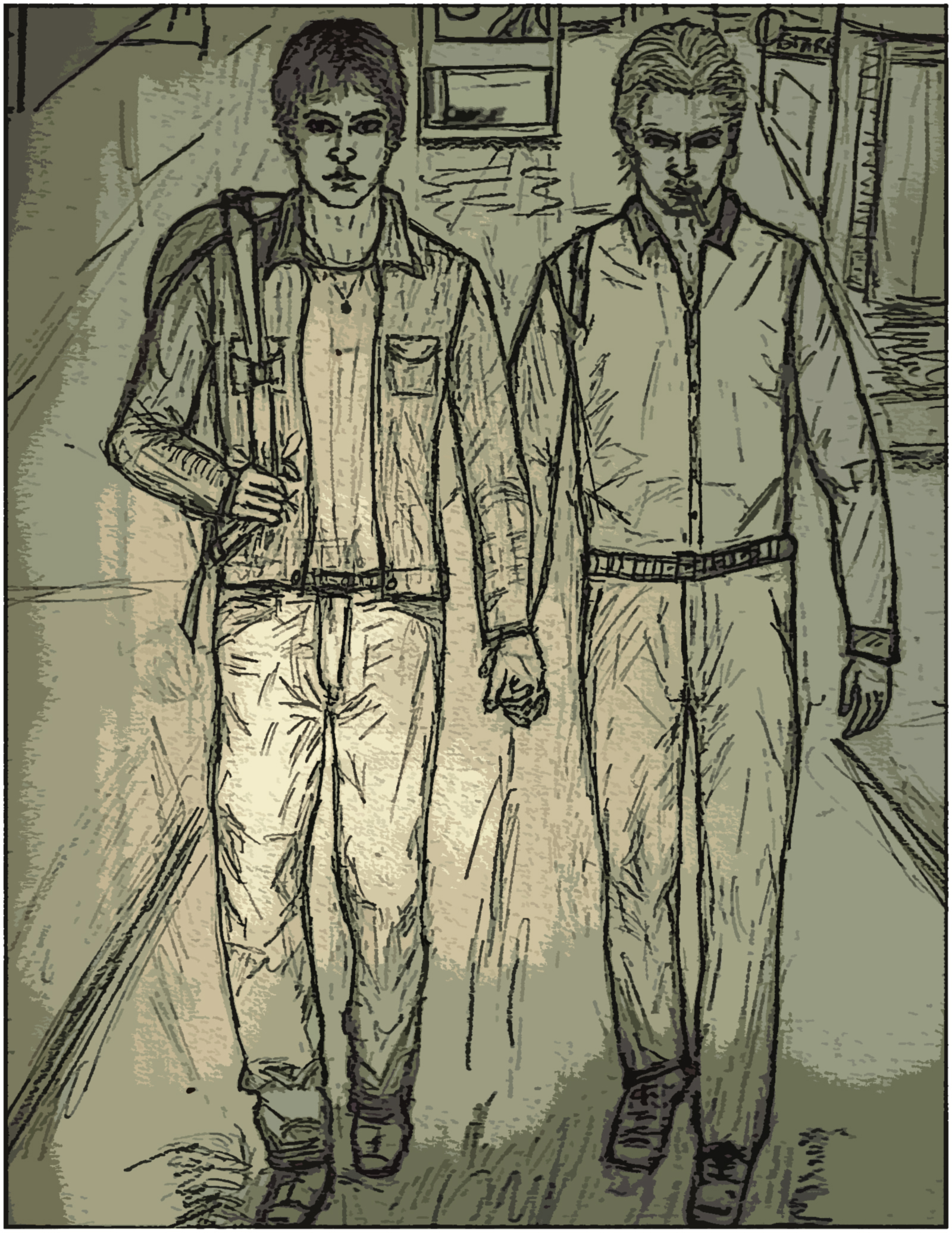 Drawing of Gabriel and Joel from Gabriel's World, two men holding hands while walking in Times Square.