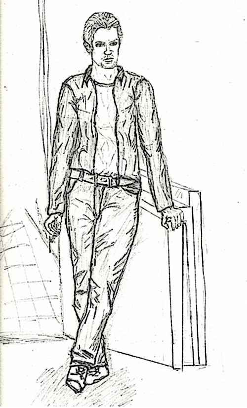 Drawing of Joel McFadden from Gabriel's World, man standing in front of blank canvasses.