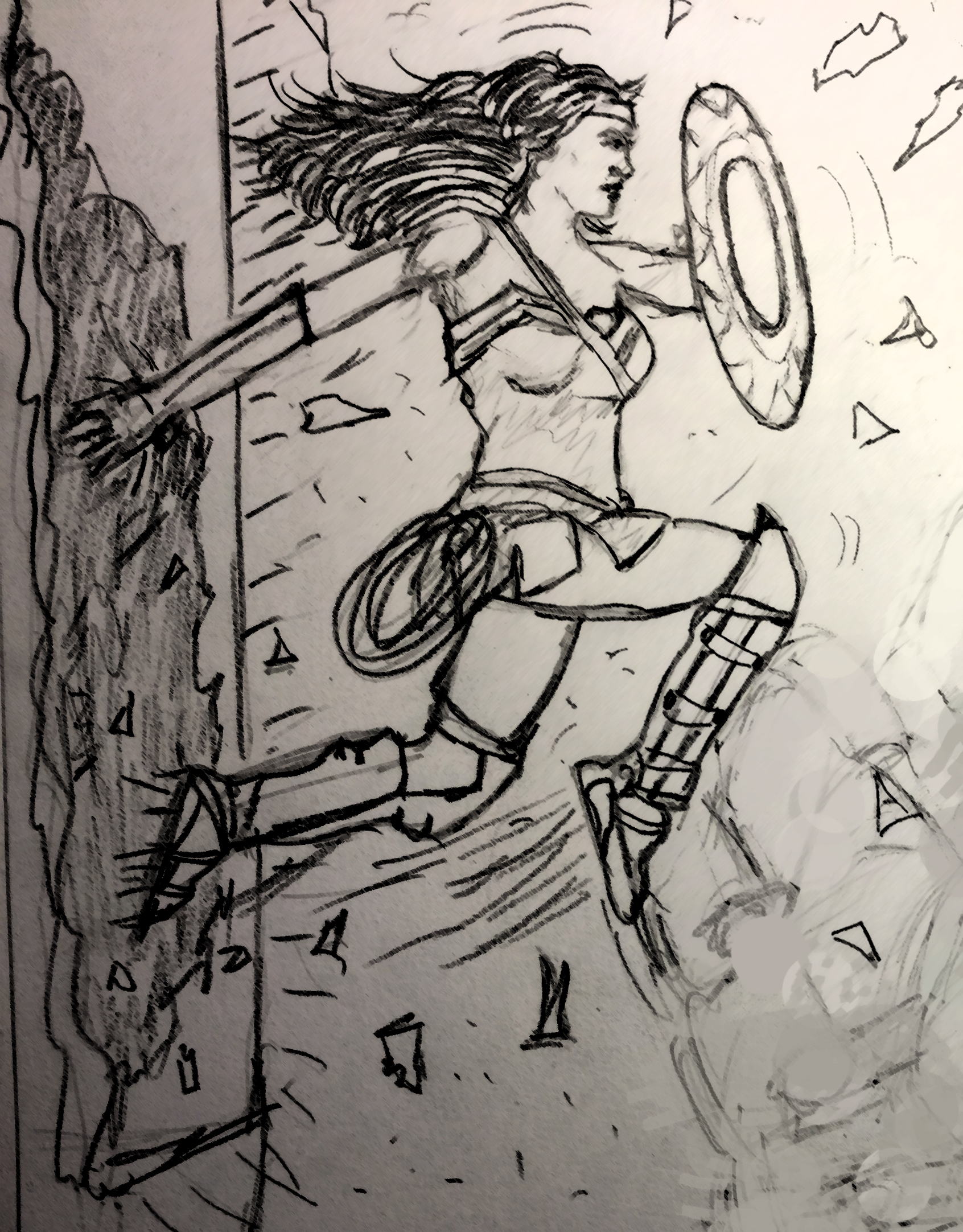 A sketch of Wonder Woman bursting from a wall with her shield