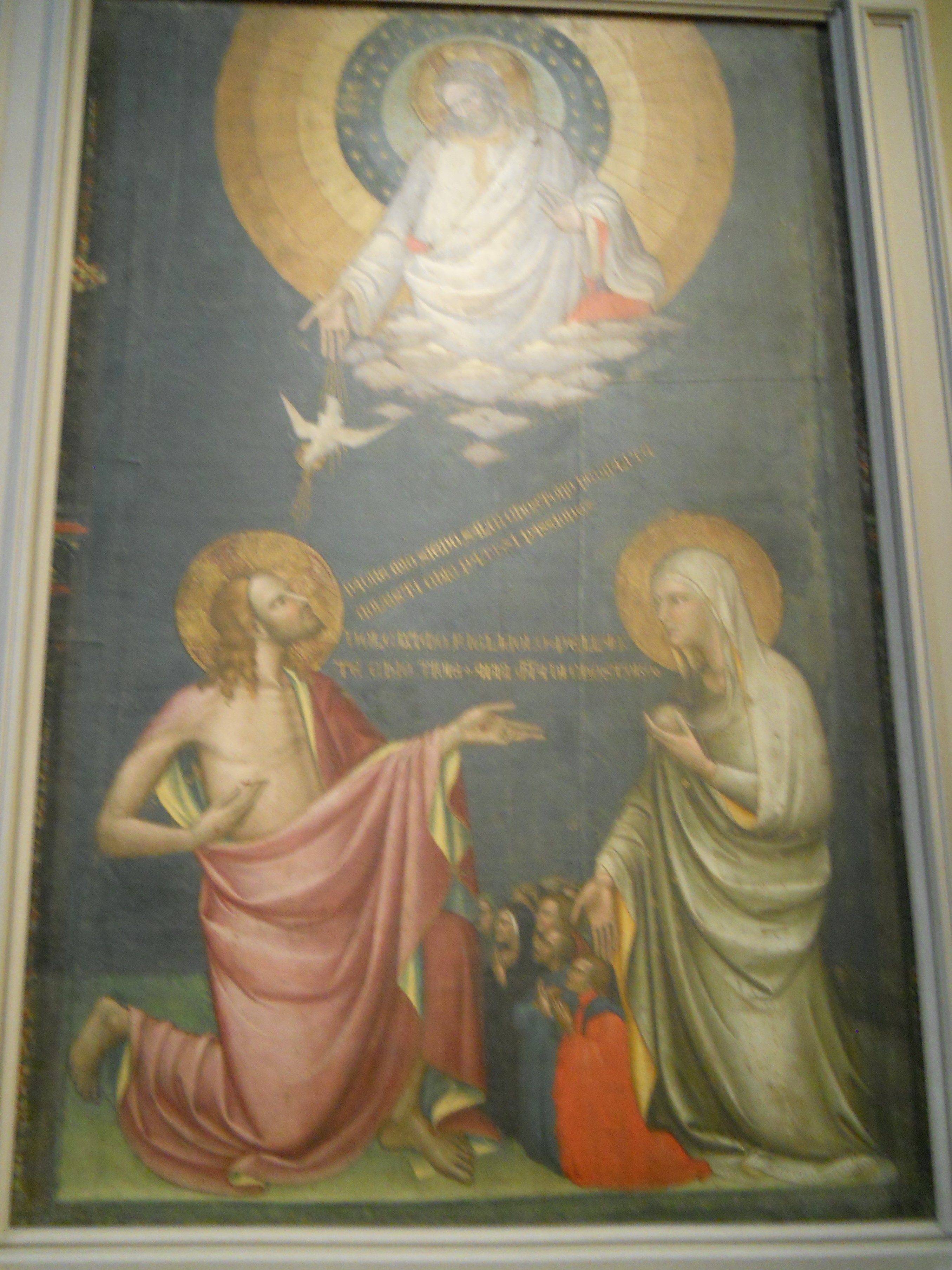 A photo of a tapestry in the Metropolitan Museum of Art, of the ArchAngel Gabriel and the Annunciation
