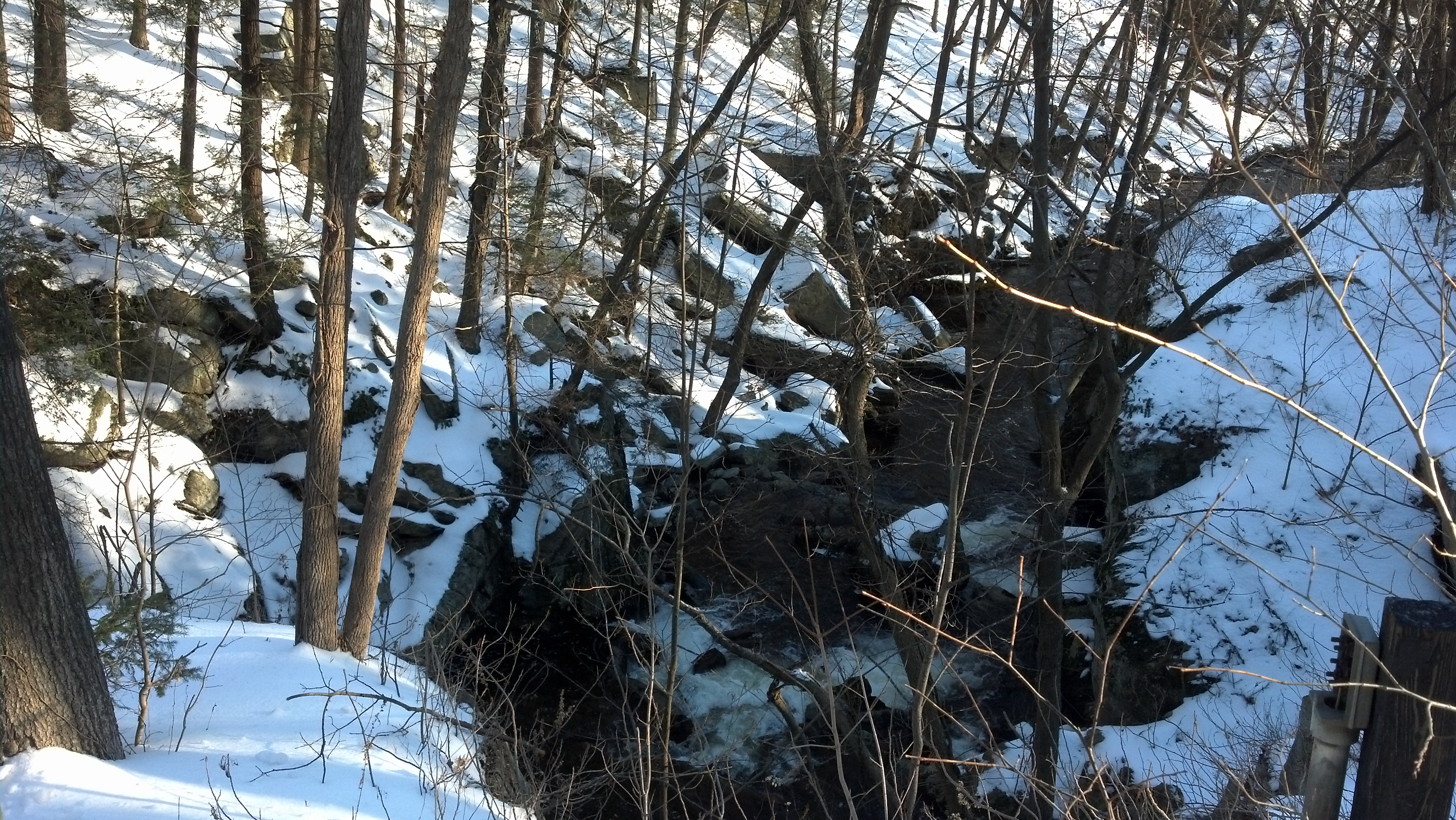 Photo of Clinton Road, NJ, in winter, a creekbed