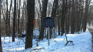 Photo of a sign denoting a former ironworks area near Clinton Road, NJ